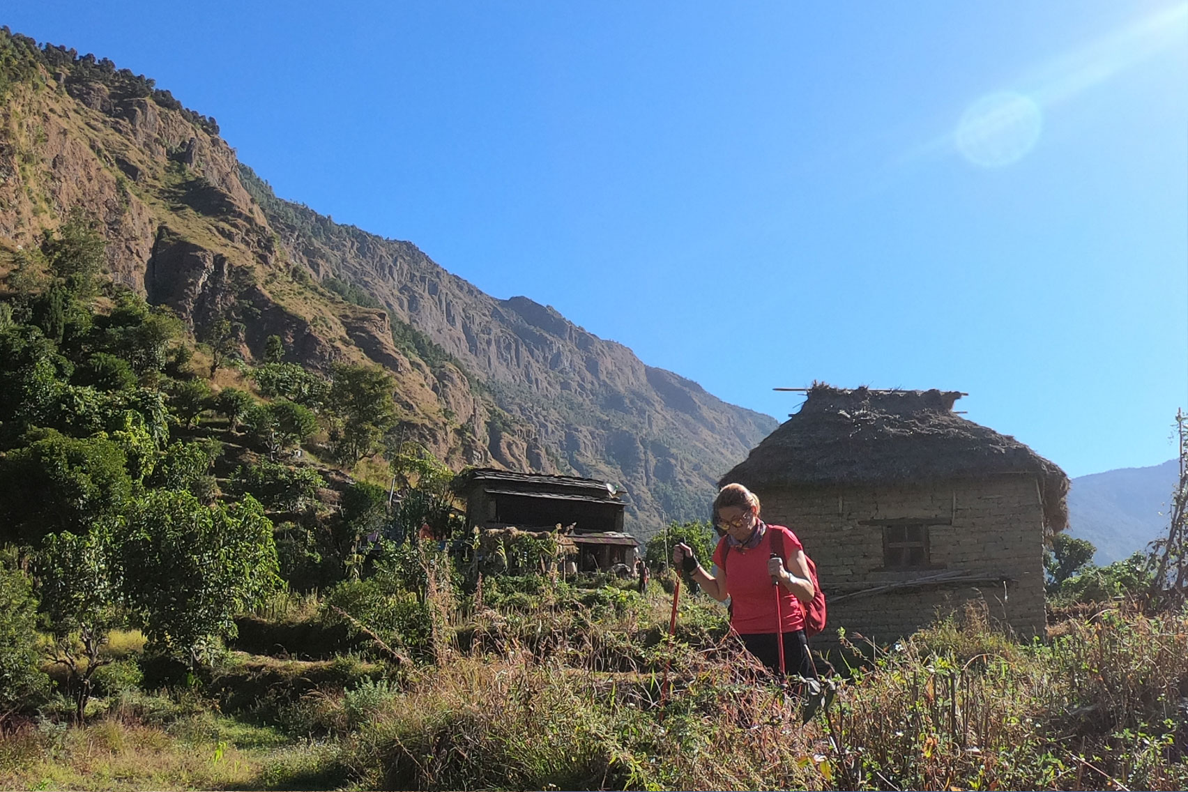 Day 7: Trek from Tikot (2250m) to Baisari (3hrs, 1100m) and drive to Pokhara (4hrs)